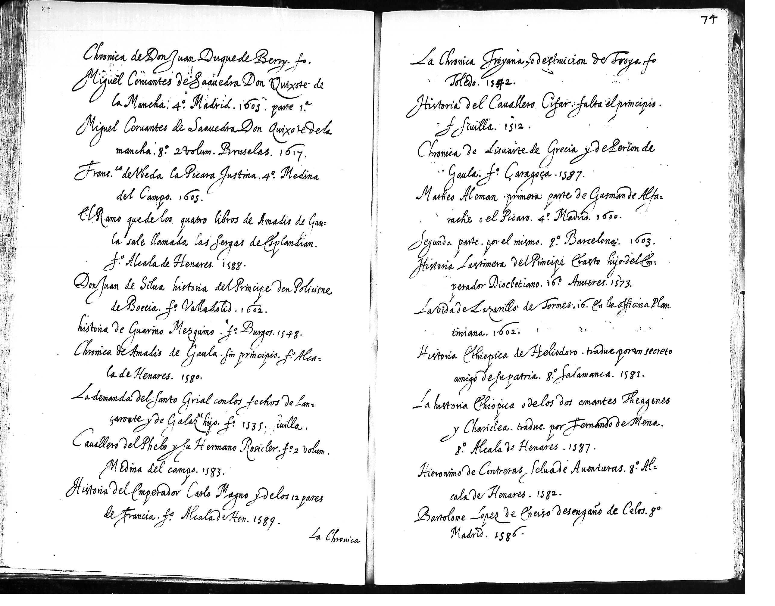1584 tercera parte de la chronica de don florisel de niquea fº